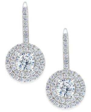 Cubic Zirconia Circle Cluster Drop Earrings in Sterling Silver