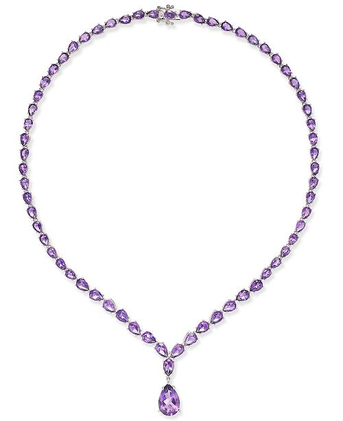 Macy's Amethyst  (28 ct. t.w.) Statement Necklace in Sterling Silver