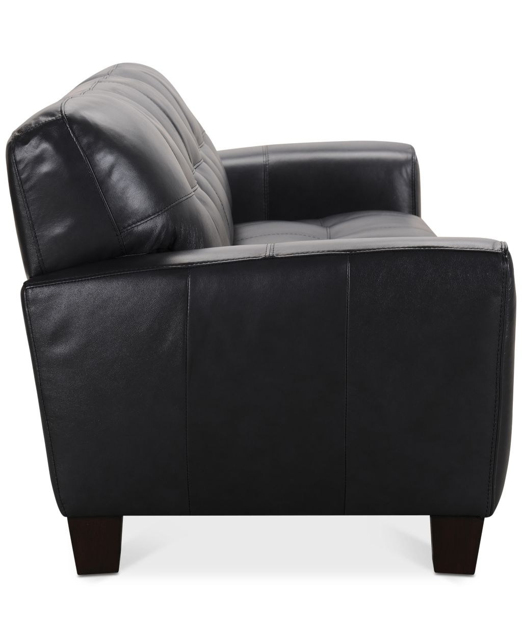 kaleb tufted leather sofa