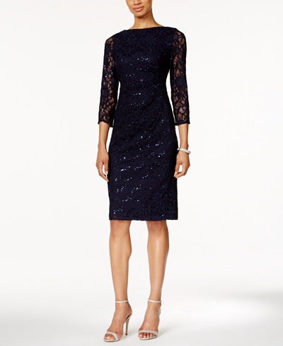 Jessica Howard Sequined Lace Sheath Dress - Dresses ...
