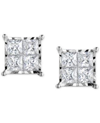 Diamond Quad Stud Earrings (1/2 ct. t.w.) in 14k White Gold or 14k Gold