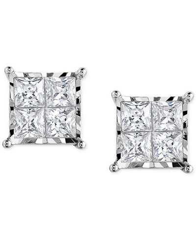 Trumiracle® Diamond Quad Stud Earrings (1/2 ct. t.w.) in 14k White Gold or 14k Gold