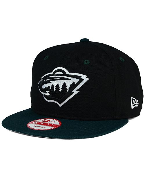 906eb1abe8b ... New Era Minnesota Wild Black White Team Color 9FIFTY Snapback Cap ...