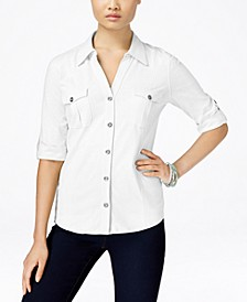 Petite Jersey Utility Shirt, Created for Macy's