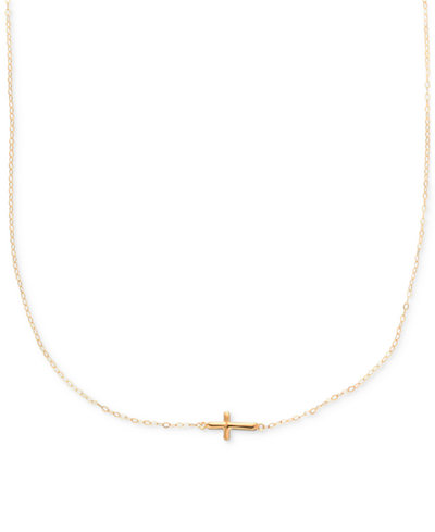 Sideways cross pendant necklace in 10k gold necklaces jewelry sideways cross pendant necklace in 10k gold mozeypictures Images