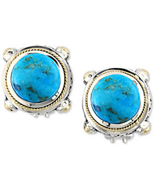Turquesa by EFFY Manufactured Turquoise Stud Earrings (8-3/8 ct. t.w.) in Sterling Silver and 18k Gold