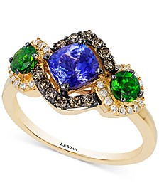 Chocolatier® Neo Geo™ Multi-Gemstone (1-1/2 ct. t.w.) and Diamond (1/3 ct. t.w.) Ring in 14k Gold, Created for Macy's