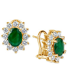 Emerald (2-1/5 ct. t.w.) and Diamond (1-1/5 ct. t.w.) Earrings in 14k Gold