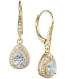 Anne Klein Teardrop Crystal and Pavé Drop Earrings