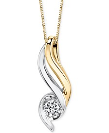 Sirena Diamond Pendant Necklace (1/5 ct. t.w.) in 14k Gold and White Gold
