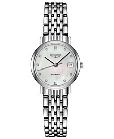 Women's Swiss Automatic The Longines Elegant Collection Diamond Accent Stainless Steel Bracelet Watch 26mm L43094876
