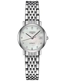 Longines Women's Swiss Automatic The Longines Elegant Collection Diamond Accent Stainless Steel Bracelet Watch 26mm L43094876
