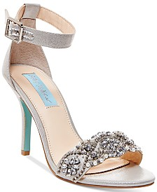 blue by betsy johnson gina embellished evening sandals