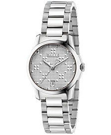 Gucci Women's Swiss G-Timeless Stainless Steel Bracelet Watch 27mm YA126551