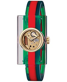 Unisex Transparent Plexiglas and Green-Red-Green Web Bangle Bracelet Watch 24x40mm YA143501
