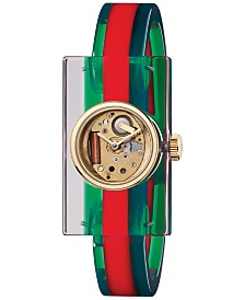 Gucci Unisex Transparent Plexiglas and Green-Red-Green Web Bangle Bracelet Watch 24x40mm YA143501