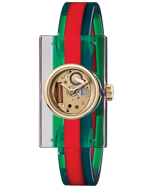 e03448d19c0 ... Gucci Unisex Transparent Plexiglas and Green-Red-Green Web Bangle  Bracelet Watch 24x40mm YA143501 ...