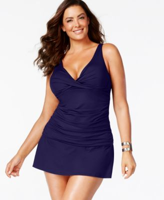 Anne Cole Plus Size Ruched Tankini Top & Swim Skirt