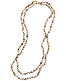 Carolee Gold-Tone Gray Imitation Pearl Long Length Necklace