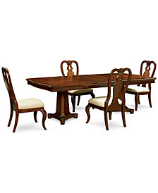 Bordeaux Double Pedestal 5-Pc. Dining Set (Dining Table & 4 Queen Anne Side Chairs)