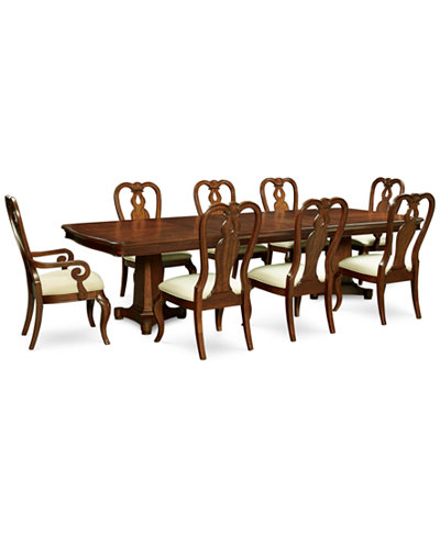 Bordeaux Double Pedestal 9-Pc. Dining Set (Dining Table, 6 Queen Anne Side Chairs & 2 Queen Anne Arm Chairs)