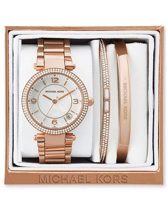 Michael Kors Women S Mini Parker Rose Gold Tone Stainless