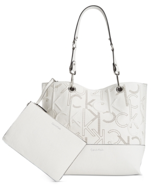Calvin Klein Sonoma Embossed Monogram Reversible Tote With Pouch