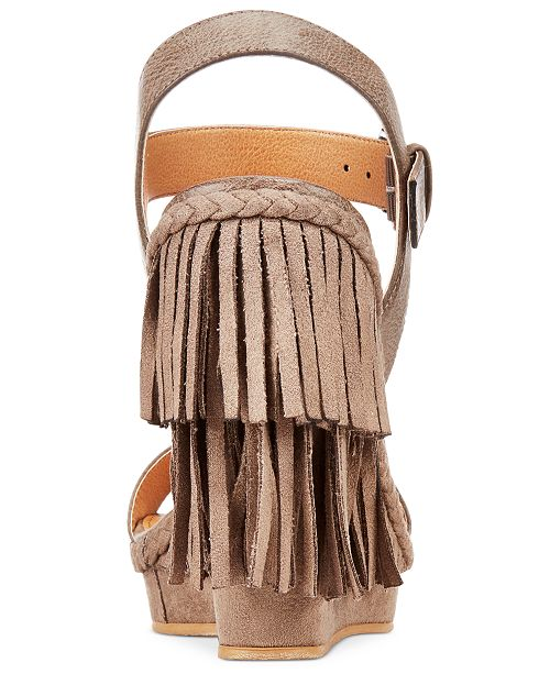 7fe6596b79ac Naughty Monkey Not Rated Roaring Ruby Fringe Wedge Sandals   Reviews ...