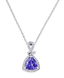 "Tanzanite (1-1/10 ct. t.w.) and Diamond (1/4 ct. t.w.) Triangle 18"" Pendant Necklace in 14k White Gold"
