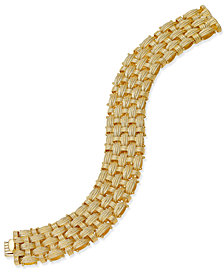 Italian Gold Woven Link Bracelet in 14k Gold-Plated Sterling Silver