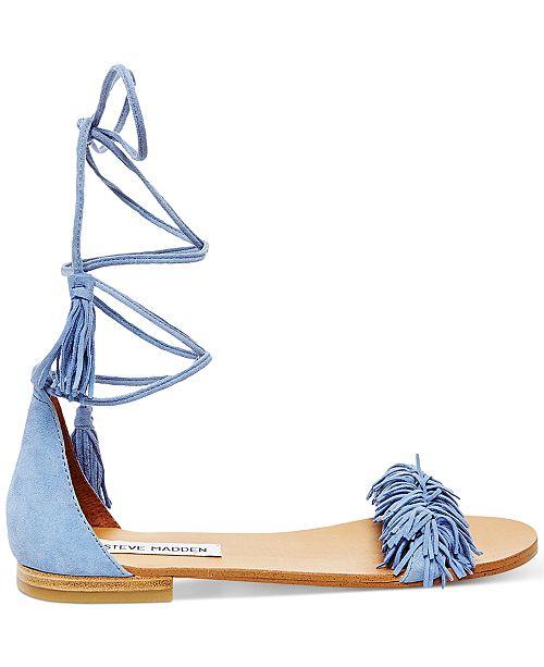 Steve Madden Women S Sweetyy Lace Up Flat Sandals