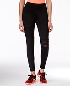 Jessica Simpson The Warm Up Juniors' Ripped Mesh-Trim Leggings