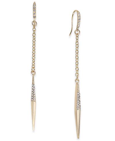 ABS by Allen Schwartz Gold-Tone Crystal Point Linear Drop Earrings