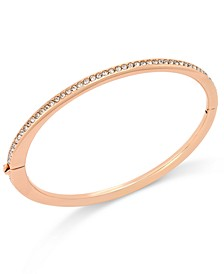 Rose Gold-Tone Channel Set Crystal Thin Hinged Bangle Bracelet, Created for Macy's