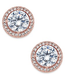 Eliot Danori Rose Gold-Tone Crystal and Pavé Round Stud Earrings, Created for Macy's