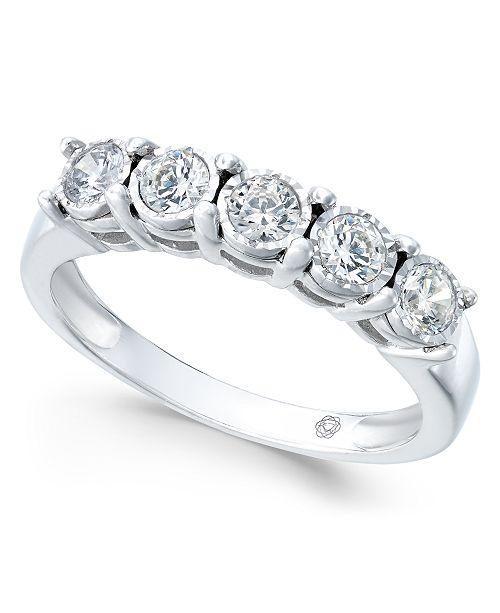 Macy's Diamond Five-Stone Band (1/2 ct. t.w.) in 14k White Gold