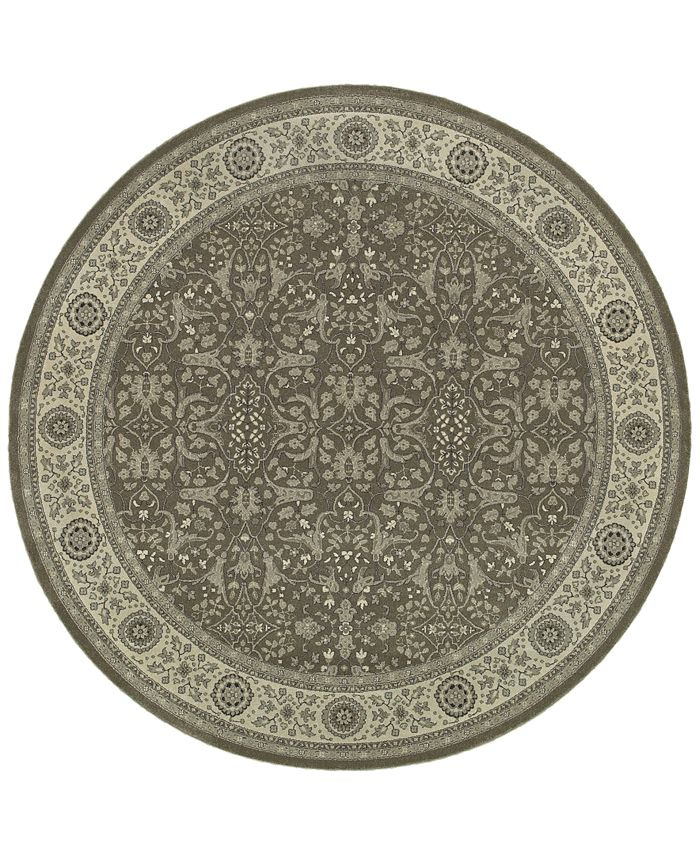 "JHB Design - Tidewater  Floral Sarouk Grey/Ivory 7'10"" Round Rug"