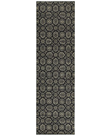 """Oriental Weavers Richmond Meridian Navy/Grey 2'3"""" x 7'6"""" Runner Rug"""