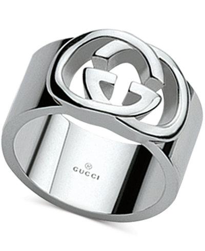 Gucci Women's Sterling Silver Interlocked GG Motif Wide Ring YBC190482001