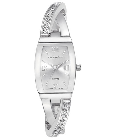 Charter Club Women's Silver-Tone Twisted Pavé Bangle Bracelet Watch 20mm, Only at Macy's