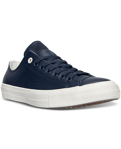 937370321f72 ... Converse Men s Chuck Taylor All Star II Ox Mesh Backed Leather Casual  Sneakers from Finish ...