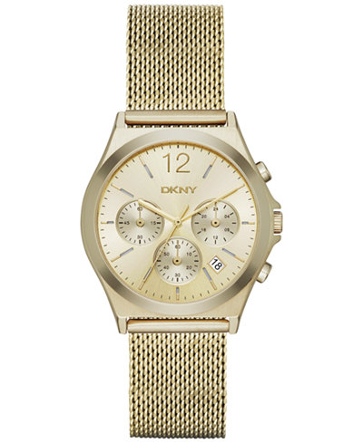 DKNY Women's Chronograph Parsons Gold-Tone Stainless Steel Mesh Bracelet Watch 38mm NY2485