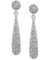 INC International Concepts Silver-Tone Teardrop Pavé Drop Earrings, Created for Macy's