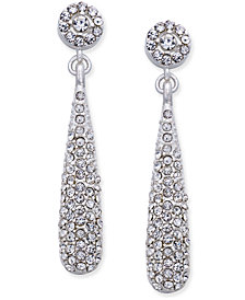 I.N.C. Silver-Tone Teardrop Pavé Drop Earrings, Created for Macy's