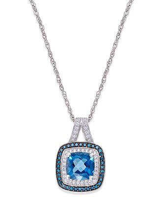Blue Topaz (1-1/10 ct. t.w.) and Diamond (1/4 ct. t.w.) Halo Pendant Necklace in 14k White Gold
