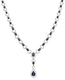 Sapphire (12-1/2 ct. t.w.) and Diamond (1 ct. t.w.) Lariat Necklace in 14k White Gold