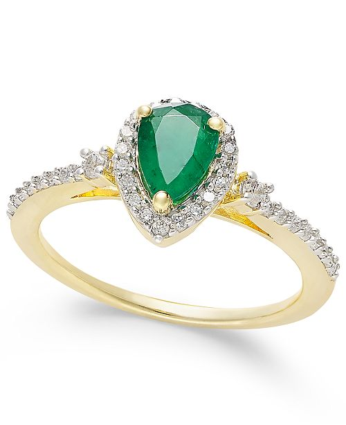 Macy's Emerald (5/8 ct. t.w.) and Diamond (1/4 ct. t.w.) Ring in 14k Gold