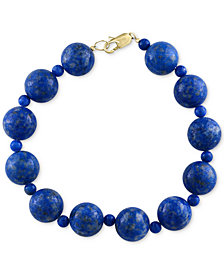 EFFY® Lapis Lazuli (4 & 12mm) Beaded Bracelet in 14k Gold
