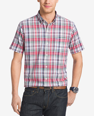 Izod men 39 s big tall plaid short sleeve shirt casual for Tall button down shirts