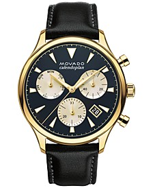 Men's Swiss Chronograph Heritage Series Calendoplan Black Leather Strap Watch 43mm 3650006